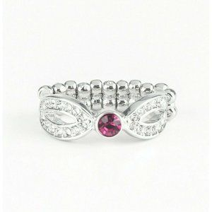 Extra Side Of Elegance Pink Crystal Stretch Ring
